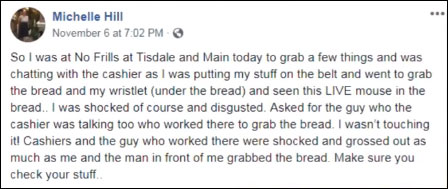 متنی که میشل هیل پس از پیدا شدن موش زنده در بسته نان در فیسبوک خود منتشر کرد