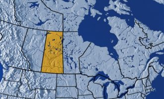 استان ساسکاچوان بروی نقشه کانادا
