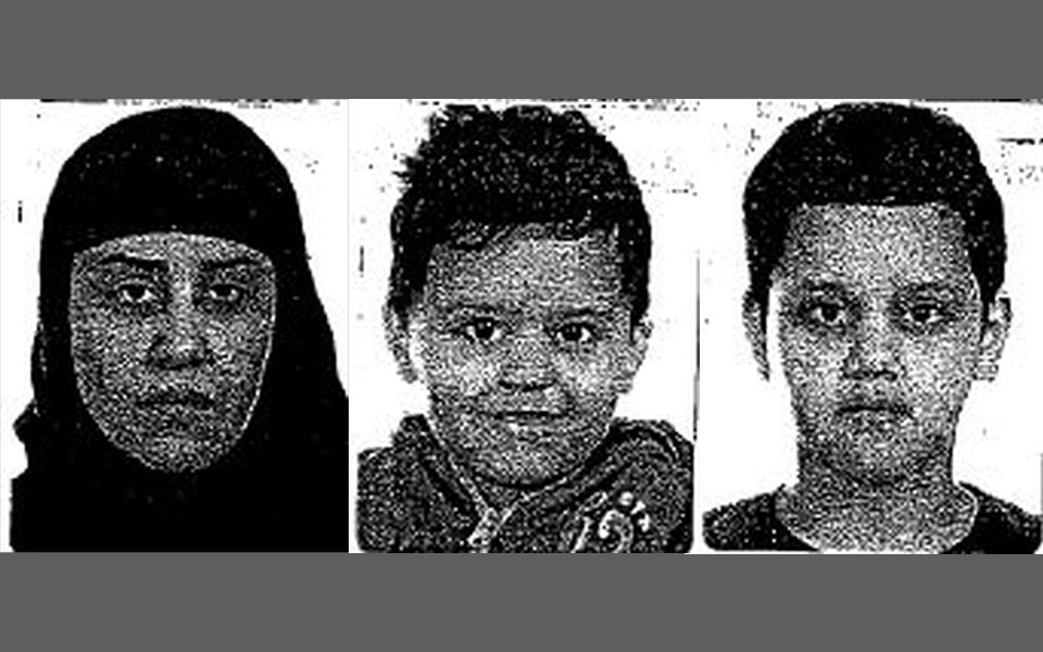 Left to Right: Missing woman, Sadaf Rassoli, 29 Missing boy Eman Rassoli, 3 Missing boy, Arman Rassoli, 9