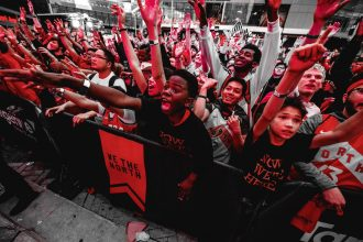 Cheering Raptors' fans watching the game from Maple Leaf Square could be heard inside the Scotia Bank Arena.		   					   (Photo: Twitter\Toronto Raptors)